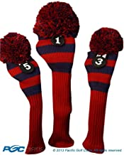 Majek Golf Club 1 3 5 Red and Blue Limited Edition Driver and Fairway Wood Head Covers Fits 460cc Drivers Tour Knit Retro Vintage Pom Classic Long Neck Metal Longneck Woods Headcovers