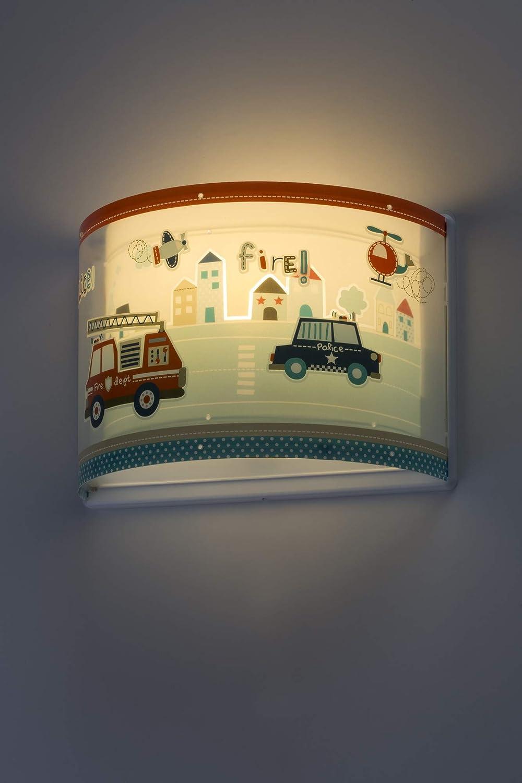 LED Kinderlampe Polizei/Feuerwehr Polizei Feuerwehr Police Nacht-Leuchtend 60618 Warmweiß 1300lm Jungen Kinderzimmerlampe Deckenlampe Warmweiß 800lm
