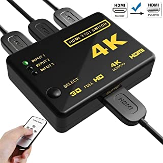 HDMI セレクター HDMI 分配器 HDMI 切り替え 3入力1出力 PS3 PS4 任天堂スィッチ  Xbox Fire TVなど対応 HDMI切替器 スイッチ 1080p対応 3D映像 フルHD対応 自動手動切り替え USB給電ケーブル付 リモコン付き