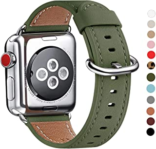 WFEAGL Compatible with iWatch Band 38mm 40mm 42mm 44mm, Top Grain Leather Band Replacement Strap for iWatch Series 5,Series 4,Series 3,Series 2,Series 1,Edition (Olive-Green Band+Silver Adapter)
