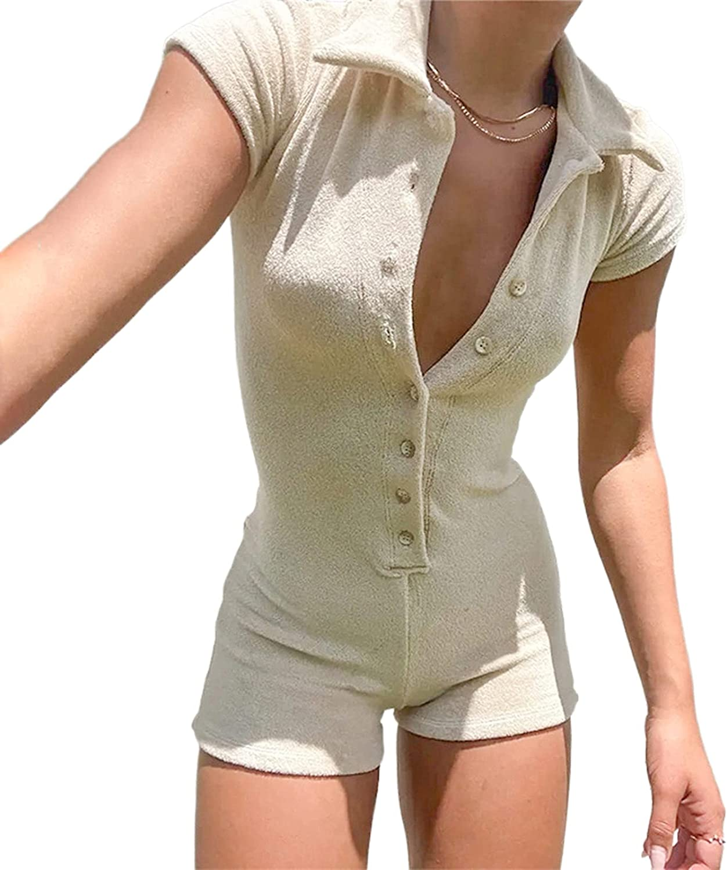 KMBANGI Short Sleeve Jumpsuit for Women Bodycon Sexy V Neck Butt