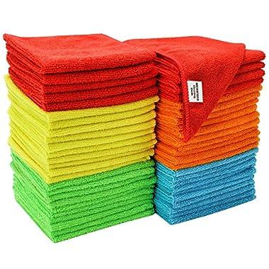 S & T Bulk Microfiber Kitchen, House, Car Cleaning Cloths - 50 Pack, 11.5  x 11.5