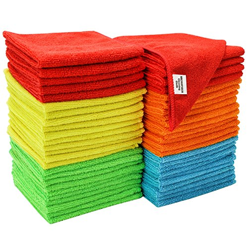 S&T INC. 968601 Microfiber Cleaning Cloths, Reusable and Lint-Free Towels for Home, Kitchen and Auto, 50 Pack, Assorted, Multi Color