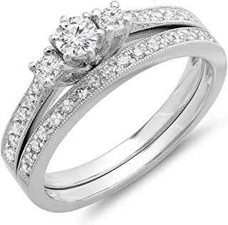 Dazzlingrock Collection 0.55 Carat (ctw) 14k Round Diamond Ladies 3 Stone Engagement Ring Matching Wedding Band Set, White Gold