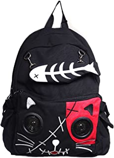 Lost Queen Kitty Speaker Backpack - Black/Red/One Size