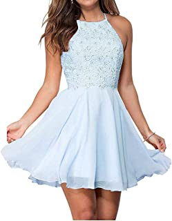 Jonlyc A-Line Halter Beaded Chiffon Short Lace Homecoming Dresses Graduation Party Gowns