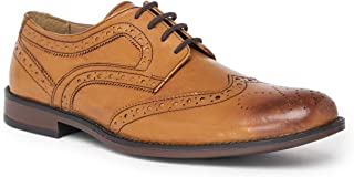 NOBLE CURVE Tan Leather Derby Brogues Shoes