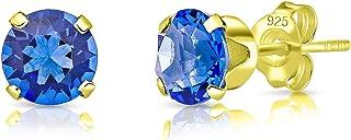 DTPsilver - Orecchini a Perno - Argento 925 Placcato in Oro Giallo con Cristalli Swarovski® Elements Rotondi - Diametro 6 ...