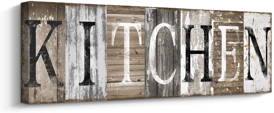 Amazon Com Kitchen Decor Wall Art Rustic Farmhouse Sign Decorative With Solid Wood Inner Frame 8 X 24 Inch Posters Prints