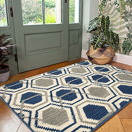 """HEBE Indoor Doormat Entryway Door Rug, Non Slip Absorbent Mud Trapper Mats, Low-Profile Inside Floor Mats, Geometric Soft Machine Washable Large Rugs Door Carpet for Entryway (32""""x48"""", Blue)"""