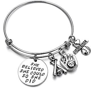 Baseball Bracelet She Believed She did Girls Baseball Jewelry Gift Baseball Player Team Coaches