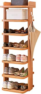 JIANFEI Zapatero Zapatos Estantería Nivel 7 Pequeño Simple Super Estrecho Gabinete de Almacenamiento Panel de Madera (Color : Maple Wood Color)