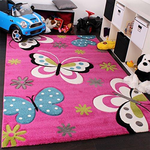 Paco Home Alfombra Infantil - Diseño De Mariposas Verde Rojo Gris Negro Crema Rosa, tamaño:80x150 cm