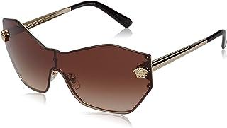 نظارات شمسية من Versace Glam Medusa Shield VE 2182 125213 Pale Gold معدنية هندسية عدسة بنية متدرجة
