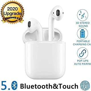 Bluetooth Headphones Wireless Earbuds Noise Canceling Sports Headphones with Charging Case,IPX5 Waterproof Stereo Earphones in-Ear Built-in HD Mic Headsets for iPhone/Android -White