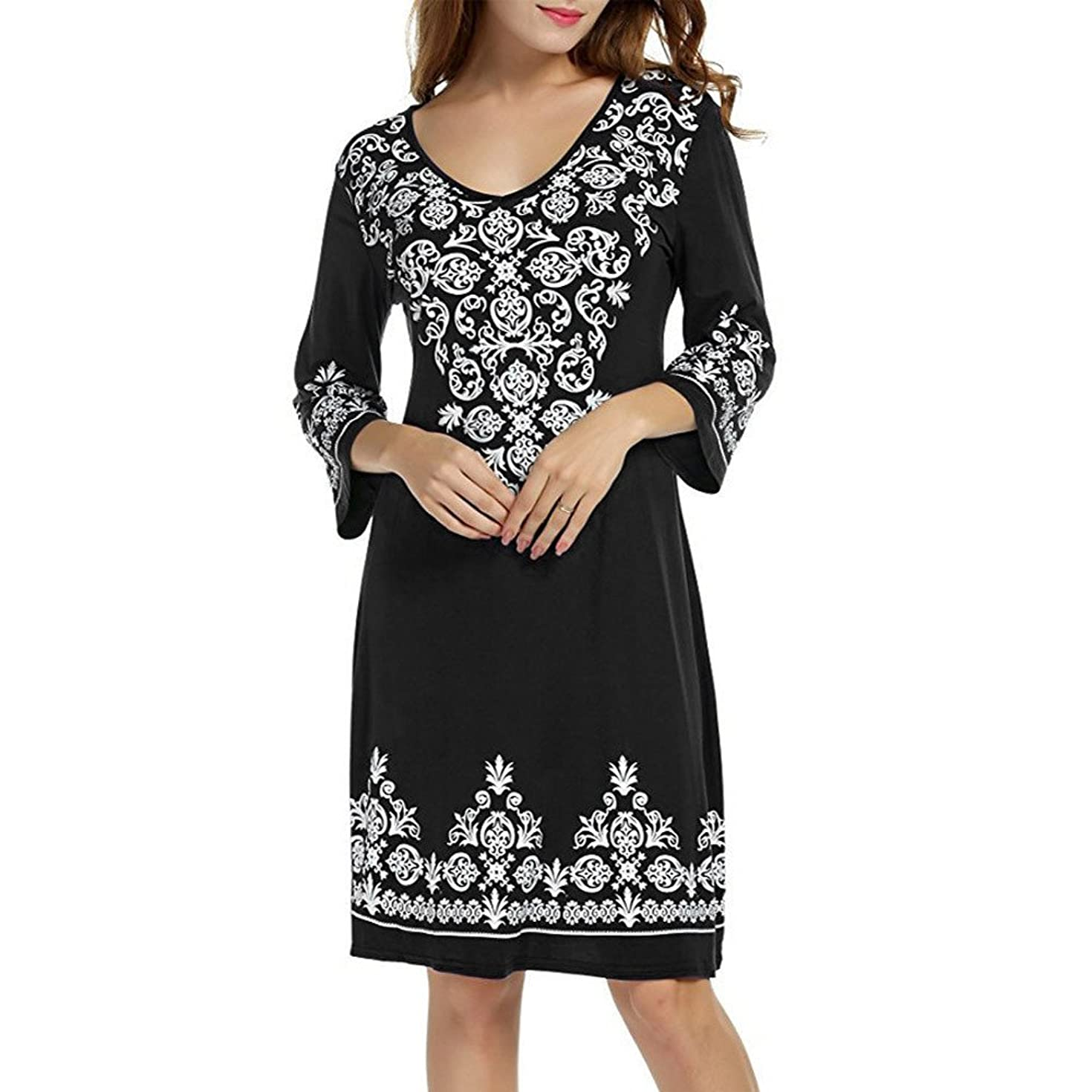 Fainosmny Summer Loose Dress Fashion Print Beach Sundress for Women 3/4 Sleeve Party Dress Casual Swing T-Shirt Tunic Dress