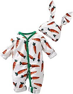Christmas Merry Wishes Baby Photo Prop Outfit Clothes Infant Cute Cartoon Carrot Print Romper Jumpsuit+Rrabbit Ears Hat Se...