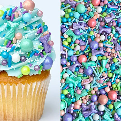 Sprinkles | Mermaid Party Sprinkle Mix | Mermaid Sprinkles | Edible Sprinkles | Purple Sprinkles | Confetti Sprinkles | Cake Sprinkles (8 ounce bag)