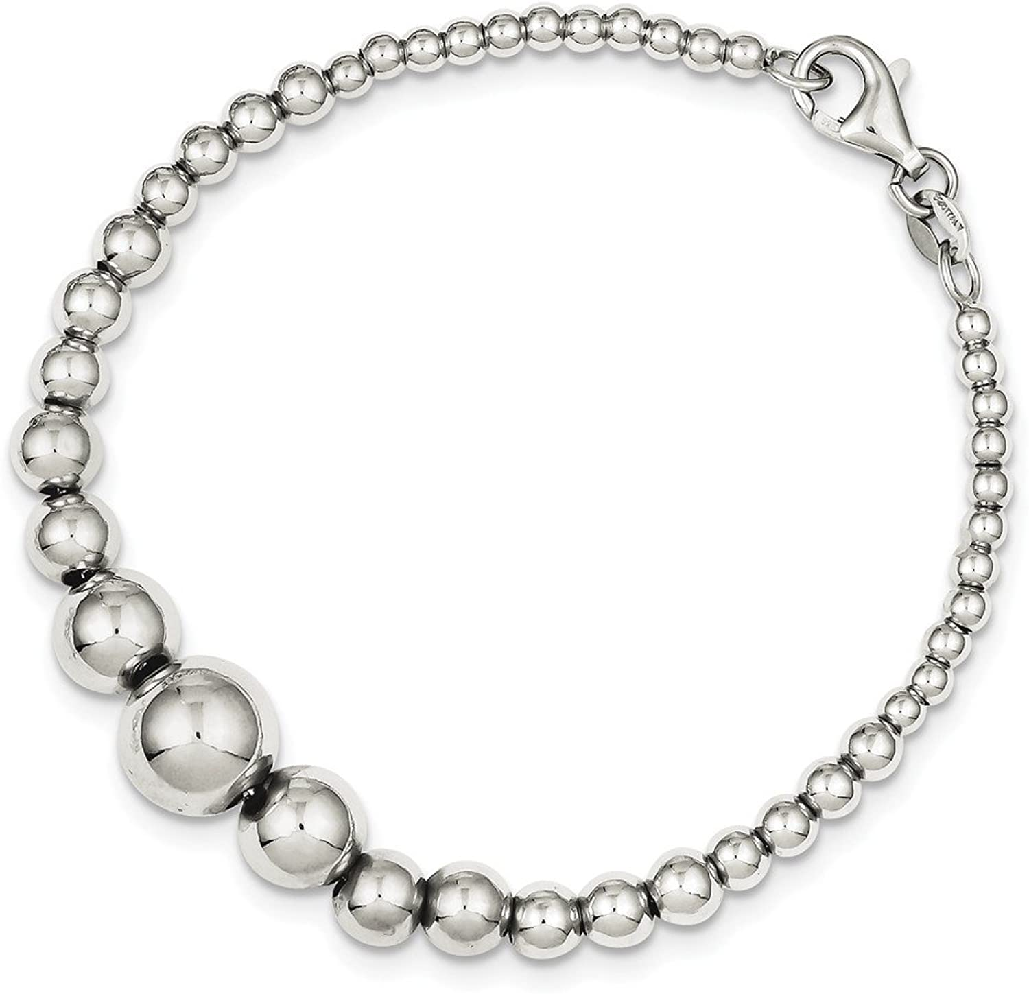 Beautiful Sterling silver 925 sterling Sterling Silver Polished Graduated Round Bead Bracelet