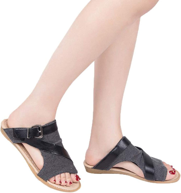 Hiviay Sandals for Women Gladiator Canvas Sandal Flat Heel Back Zip Closure