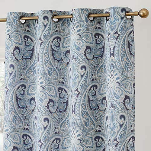 HLC.ME Paris Paisley Decorative Print Damask Pattern Thermal Insulated Blackout Energy Savings Room Darkening Soundproof Grommet Window Curtain Panels for Bedroom - Set of 2 (50 W x 84 L Long, Blue)