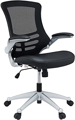 Modway Attainment Mesh Back and Vinyl Seat Modern Office Chair in Black