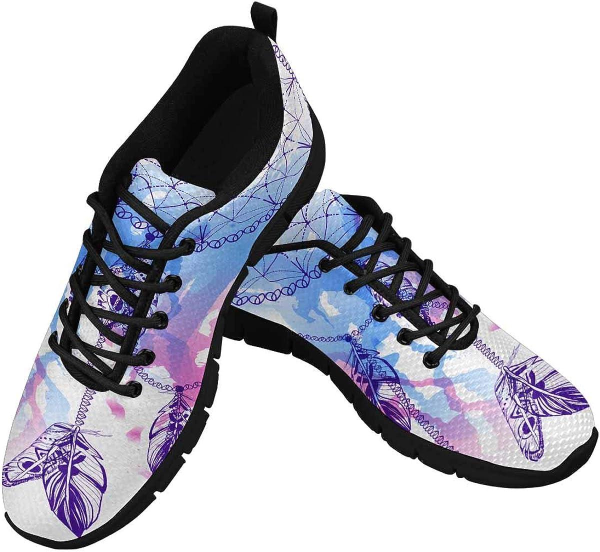 INTERESTPRINT Watercolor Dream Catcher Women's Tennis Running Shoes Lightweight Sneakers
