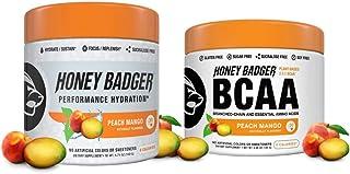 Honey Badger Vegan Keto BCAA and Hydration Powder Bundle | Peach Mango | Natural Gluten Free Amino Acids Essential Aminos ...