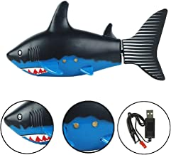 Escomdp Mini RC Fish Pez Tiburón Niños Recargable Juguete Eléctrico Control Remoto Tiburón Nadando Juegos de Agua Barco Los Mejores Regalos para Niños (Black)