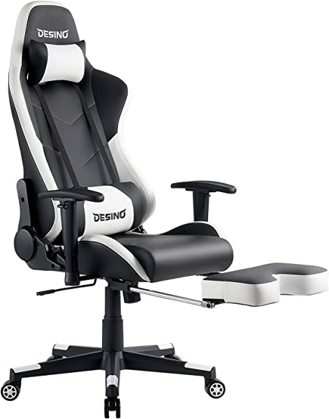 DESINO Gaming Chair Racing Style High Back Computer Chair Swivel Ergonomic Executive Office Leather Chair With Footrest White