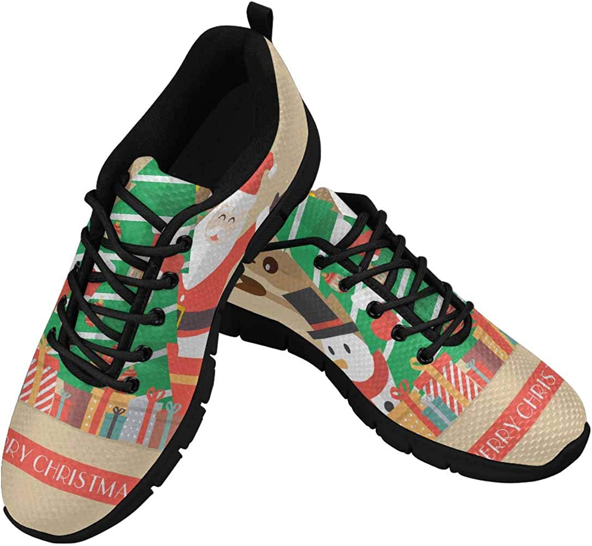 INTERESTPRINT Merry Christmas Vintage Greeting Card Lightweight Mesh Breathable Sneakers for Women