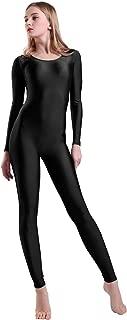 Kepblom Women's Long Sleeve Scoop Neck Unitard Spandex Bodysuit for Dance Gymnastic Costume