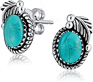 Bali Style Stabilized Turquoise Gemstone Round Bezel Leaf Rope Edged Stud Earrings For Women Oxidized Sterling Silver