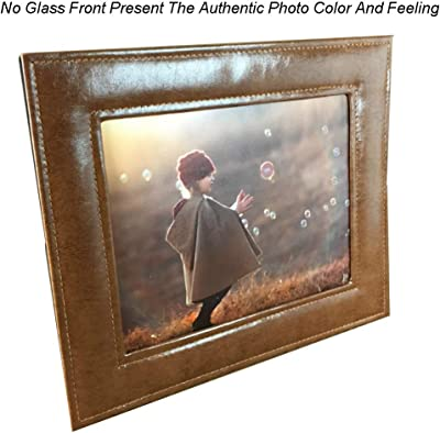SIKOO Picture Frames 5x7 Family Baby Boy Girls Leather Photo Frame Without Glass Front For Home