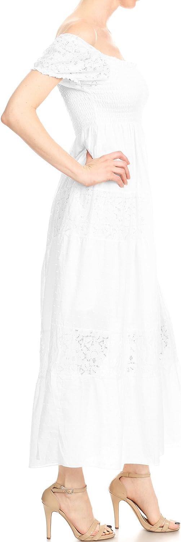 Anna-Kaci Womens Off Shoulder Boho Lace Semi Sheer Smocked Maxi Long Dress