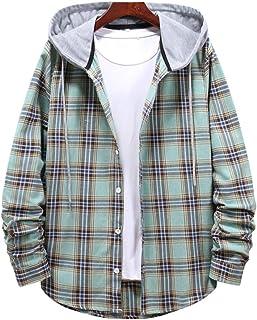 Men's Hooded Plaid Shirts Couple Check Shirt Jacket Long Sleeve Lattice Tops Blouses Spring Autumn Button Hoodie Plaid Car...