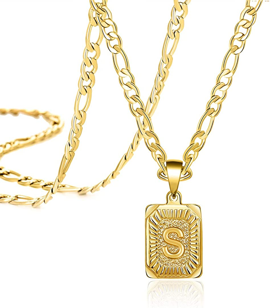 Capital Letter Initial Necklaces for Men Women Square Pendant Figaro Chain 16-24 Inches Minimalist Stainless Steel Jewelry Gifts 18K Gold Planted Alphabet A-Z Necklace
