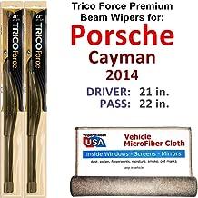 Premium Beam Wiper Blades for 2014 Porsche Cayman Driver & Passenger Trico Force Beam Blades Wipers Set of 2 Bundled with Bonus MicroFiber Interior Car Cloth