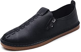 HongJie Hou Oxford Shoes for Men Formal Shoes Slip On Style Microfiber Leather Metal Zipper Decoration Lightweight Flexible (Color : Black, Size : 7 UK)