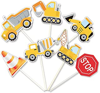 35-Pack Construction Cupcake Toppers Picks, Dump Truck Excavator Tractor Party Cake Toppers for Kids Birthday Baby Shower ...