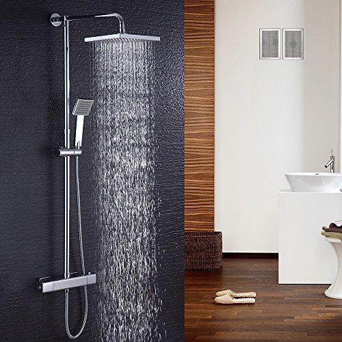 Duschsystem mit Thermostat Regendusche eckig Duscharmatur Duschset Dusche inkl. Handbrause, Regenbrause, Duschstange chrom (Eckig)