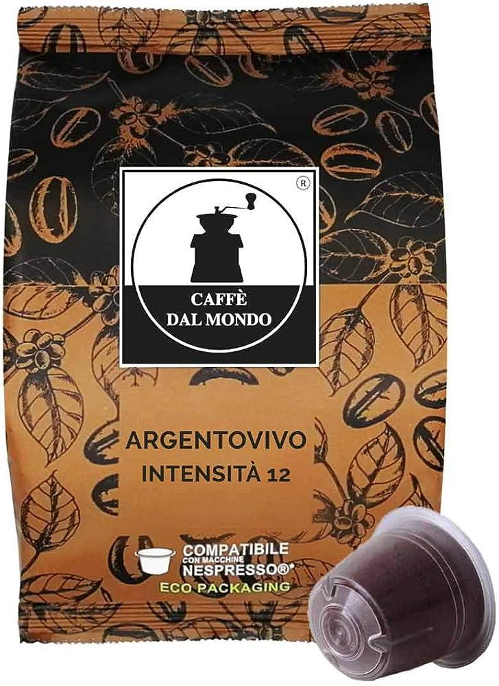 Caffè dal mondo,caffe`  selezione argento vivo - intensità 12,100 capsule compatibili nespresso