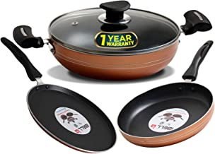 iBELL Non-Stick Cookware Set Combo, FKT2325, 4 Pieces (Tawa + Fry Pan + Kadai + Glass Lid) Induction Base, Copper