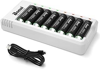 BONAI 8-pack uppladdningsbart batteri AA med laddarset, 2 800 mAh högkapacitet AA uppladdningsbara batterier och självstän...
