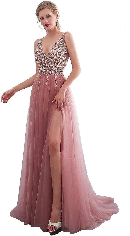 KissBridal Women's V Neck Prom Dresses High Slit Sequins Tulle Long Evening Gown