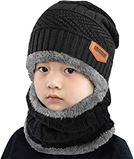 Bebé Niños Chicos Chicas Cálido Conjunto de punto bufanda, Conjuntos de gorro, Bufanda circular Beanie Sombrero de esquí, Conjuntos 2 EN 1 Accesorios de invierno