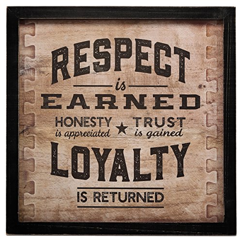 Open Road Brands 'Respect is Earned Loyalty is Returned MDF Black Wood Framed Wall Art - an Officially Licensed Product Great Addition to Add What You Love to Your Home/Garage Décor