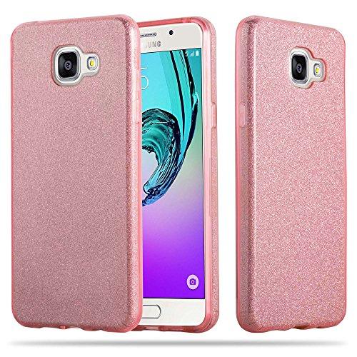 Cadorabo Hülle für Samsung Galaxy A3 2016 (6) - Hülle in Sternenstaub PINK – TPU Silikon und Hardcase Handyhülle im Glitzer Design - Hard Case TPU Silikon Schutzhülle
