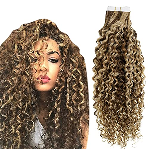 Easyouth Vrais Remy Hair Extensions Cheveux Naturel Adhesif Human Hair Invisible Brun Moyen und Blond Miel Kinky Curly Tape in Hair Extensions Remy Hair 12pouce 40g 20Pcs
