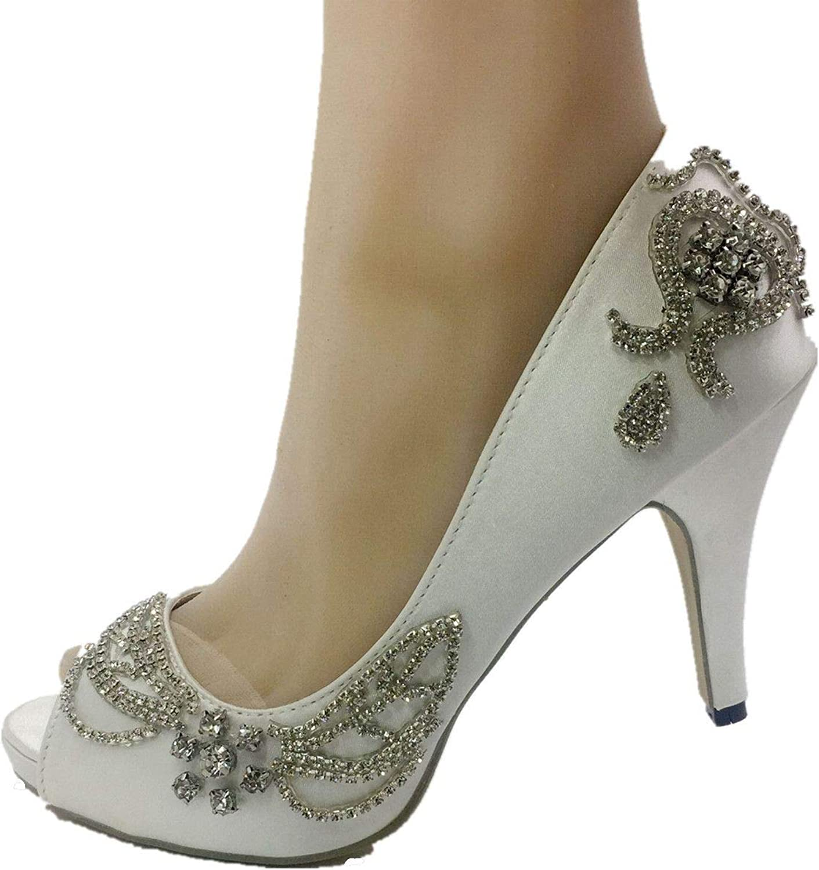 LACE ELEMENTS Women's High Heel Open Toe Pumps Wedding Party Sandal shoes